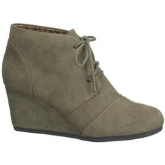 maurices Penny Lace-Up Wedge In Olive ($34) ❤ liked on Polyvore featuring shoes, boots, green, mid heel shoes, wedges shoes, mid-heel shoes, synthetic shoes and army green shoes
