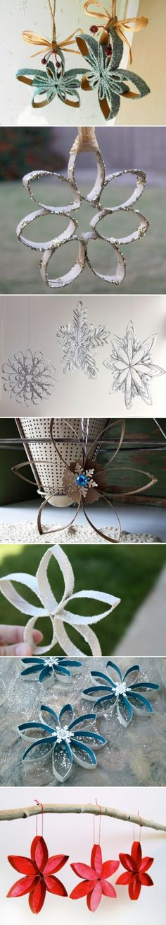 DIY CRAFT **Toilet paper rolls** Toilet Paper Roll Snowflakes _ The link is broken_ Christmas Tree Ornaments To Make, Noel Christmas, Christmas Projects, Holiday Crafts, Holiday Fun, Christmas Decorations, Origami Christmas, Wedding Decorations, Diy Ornaments