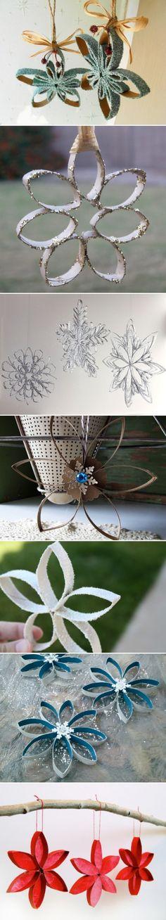 * Reepjes knippen van wc-rolletjes, op doorschijnend gekleurd papier plakken en in het midden een lampje van een kerstlichtjessnoer - het geheel kun je op een mooie plank bevestigen, zodat je een mooie plank-lamp hebt om waar dan ook te hangen.