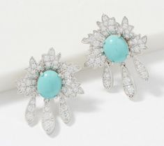 These ΤΟVΛ® sparklers have a pop of color with a simulated turquoise center. Cubic zirconia Diamonique simulated diamonds are sprinkled throughout for undeniable appeal. Another unique design with timeless appeal by ΤΟVΛ®! Available in pierced or clip on. Jewelry For Her, Jewelry Gifts, Turquoise Flowers, Sparklers, Flower Earrings, Ear Piercings, Sterling Silver Earrings, Color Pop, Floral Design