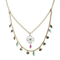 Lucky Brand Jewelry Layered Silver & Gold Necklace. Flowers, Leaves and Turquoise Stones ...Exquisite!!!