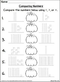 halloween coloring by number worksheets | Classroom Freebies Too: Halloween Comparing Numbers