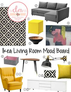 Ikea Living Room Mood Board: LAPPLJUNG RUTA Rug, FRIHETEN Corner Sofa-bed, BOSNÄS Footstool with Storage, NÖDVÄNDIG Bowl, BESTÅ Box, LÖVBACKEN Side Table, RANARP Wall/Clamp Spotlight, GULLKLOCKA Cushion Cover, LAPPLJUNG RUTA Cushion Cover  11. STRANDMON Wing Chair  12. BESTÅ BURS TV Bench