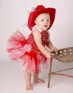 Little Cowgirl with red and white tutu, bandanna top and hat  $45