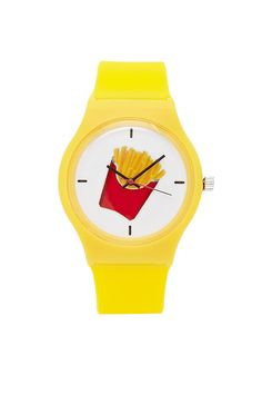 An analog watch featuring a fries graphic dial and a matte band with buckle closure.