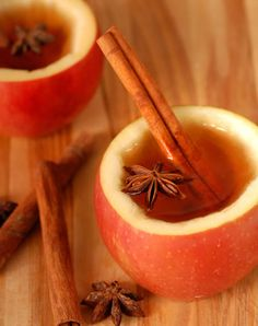 Hot Apple Cider in an apple cup