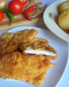 Adela Zilahi: Snitel pane de pui Food And Drink, Pizza, Sweets, Chicken, Meat, Cooking, November, Recipes, Pork