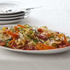 Thin vegetable slices or ribbons are an elegant presentation for ...