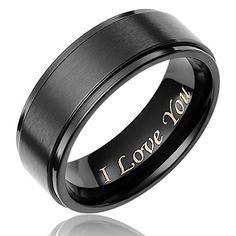 "Cavalier Jewelers 8MM Men's Black Titanium Ring Wedding Band Engraved ""I Love You"" [Size 11] Cavalier Jewelers http://www.amazon.com/dp/B00PVCWW9Y/ref=cm_sw_r_pi_dp_WjT5ub1PRBZBH"