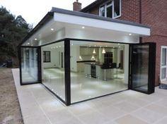 Lights outside roof extended outside of glass - - Hausanbau - House Extension Design, Extension Designs, Glass Extension, Extension Ideas, Flat Roof Design, Rear Extension, Bungalow Extensions, Garden Room Extensions, House Extensions