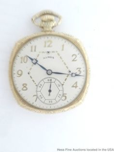 Art Deco Cushion Illinois Time King Mens Pocket Watch to Fix  #Illinois