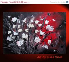 Painting Flowers black, white and red .. Beautiful