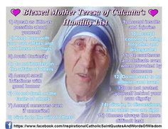 Blessed Mother Teresa Of Calcutta's Humility List :-)