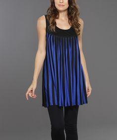 Adore Black & Blue Stripe Sleeveless Dress by Adore #zulily #zulilyfinds