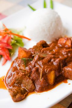 Creole Beef Curry with Rice @ La Rougaille Creole in Grand Baie, Mauritius
