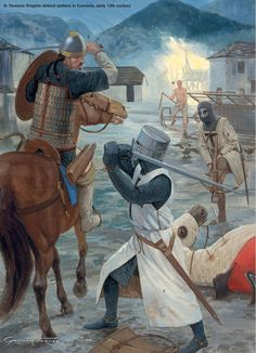 Teutonic Knights defend settlers in Cumania, early 13th century