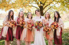 Beautiful bridesmaid dress colors for a rustic autumn wedding