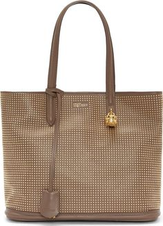 d131f8960f Alexander McQueen Taupe Studded Leather Small Shopper 42259F069004 Leather  tote bag in taupe. Gold-