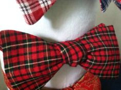 Red, Black, and White Plaid Bow Tie by Phi Ties