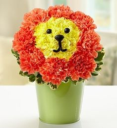 Put the crowning touch on their day by sending our truly original king of the jungle arrangement! Expertly designed by our florists in a reusable green tin planter, it features yellow mini carnations for the face and orange carnations for the regal mane. From birthdays to get well to