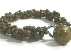 Spiral Bead Bracelet  Matt Brown Beads and by waialuaplantation, $14.00