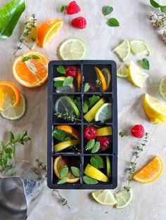 citrus & herb ice cubes