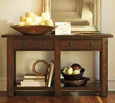 "Benchwright Console Table - Rustic Mahogany stain #potterybarn 54"" wide x 15"" deep x 30"" high $950"