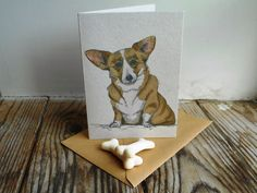 Corgi Card by huxleyjonesdesigns on Etsy