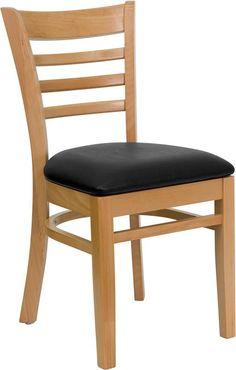 HERCULES Series Natural Wood Finished Ladder Back Wooden Restaurant Chair - Black Vinyl Seat [XU-DGW0005LAD-NAT-BLKV-GG]
