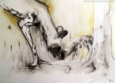 Painted dog and pup, mother and pup, africa, wildlife, drawing, watercolour, painting, art