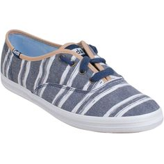 Keds Women's Champion Washed Beach Stripe Sneaker ($50) ❤ liked on Polyvore featuring shoes, sneakers, navy, laced shoes, navy shoes, laced up shoes, beach footwear and lacing sneakers