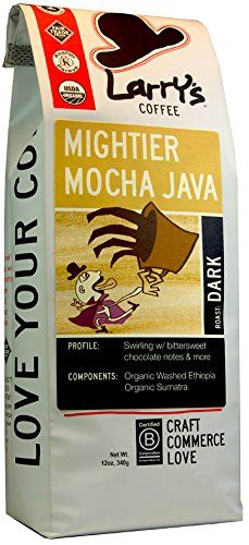 Larry's Beans Fair Trade Organic Coffee, Mightier Mocha Java, Whole Bean, 12-Ounce Bags (Pack of 3) * Want additional info? Click on the image.