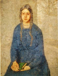 Girl Holding a Book (c.1922). Gwen John (Welsh, 1876-1939). Oil on canvas. Smith College Museum of Art.  John worked in France for most of her career. Her paintings, mainly portraits of anonymous female sitters, are rendered in a range of closely related tones. This painting, Girl Holding a Book, is representative of her work.