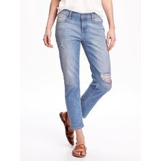 Old Navy Boyfriend Skinny Jeans For Women ($37) ❤ liked on Polyvore featuring jeans, bleach party, petite, skinny jeans, white denim jeans, white ripped jeans, denim skinny jeans and old navy skinny jeans