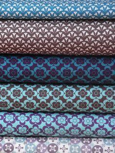 Blue, purple and brown (originals fabrics, all rights reserved) www.motifs-et-cie.com #fabrics