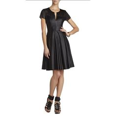 BCBGMaxAzria Black Leather Dress. Super Cute! BCBG Black Perforated Faux Leather Fit & Flare Dress. V-Neck. Lined. Back zip. Brand New Condition. Cute with heels or booties! BCBGMaxAzria Dresses Mini