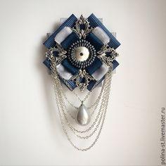 """Купить Брошь-орден """"Серебряный дождь"""" - синий, серый, серебро, серебряный, винтажный стиль"""