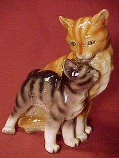 "Vintage/Antique Erphila Germany 7"" Tiger Striped Cat Kitten Figurine-Adorable!"
