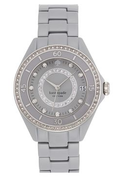 Adore the sparkly crystals on this grey Kate Spade bracelet watch.