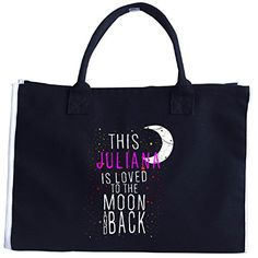 This Juliana Is Loved To The Moon And Back Christmas  Tote Bag *** See this great product. #XmasStorageOrganization