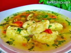 Supa de pui cu galuste Curry, Yummy Food, Favorite Recipes, Soups, Chicken, Meat, Ethnic Recipes, Recipes, Cook