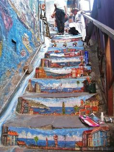 Landscapes on stair risers.