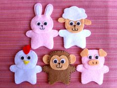 5 Animal Finger Puppets (Bunny, Chicken, Monkey, Pig and Sheep)