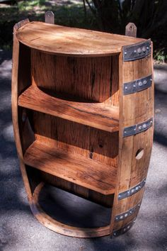Bourbon Barrel and Reclaimed Barn wood Shelf Whiskey Barrel Decor, Wine Barrel Chairs, Whiskey Barrel Furniture, Wine Barrel Bar, Bourbon Barrel, Wine Barrels, Barrel Projects, Diy Pallet Projects, Woodworking Projects