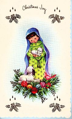 Christmas vintage 1960's greeting nativity