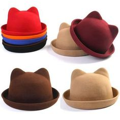 71ce7f01329 Bowler Hat With Cute Bear Ears