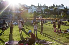 Local hotspot: Dolores Park. Hula-hoopers, champagne uncorkers, drum-circle rhythm makers, and grass-friendly voyeurs unite.