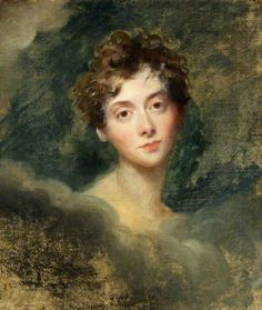 """Lady Caroline Lamb (1785-1828) was a novelist, infamous for her 1812 affair with Lord Byron, whom she then caricatured in her Gothic novel """"Glenarvon."""" Sir Thomas Lawrence never completed this portrait of her, begun in 1827 (she died in Jan. 1828). Here, she looks younger than her 42 years, but she was said to have had a childlike appearance."""
