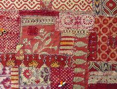 Sally Campbell, Handmade Textiles - my vintage patched kalamkari cushion