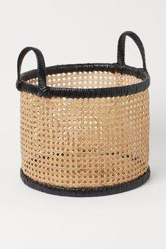 Rattan basket - Black/Beige - Home All   H&M GB Rattan Basket, Wicker, Gift Card Shop, H & M Home, H&m Gifts, Music Gifts, Basket Decoration, Beige Color, Braids